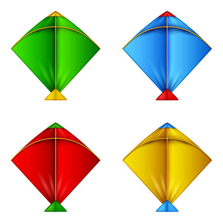Set of colorful kites icon Stock Photo