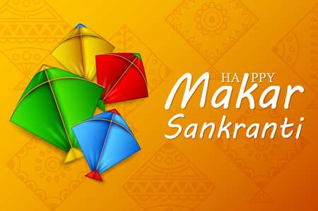 Makar sankranti greeting card with colorful kites Stock Photo
