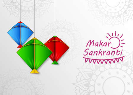 Makar Sankranti greeting card with kite hanging