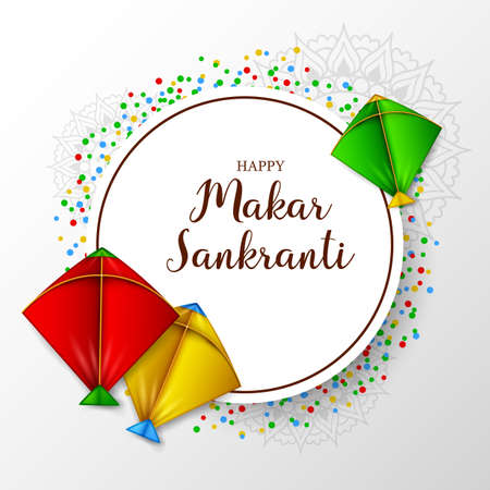Makar sankranti greeting card with round paper and colorful kite