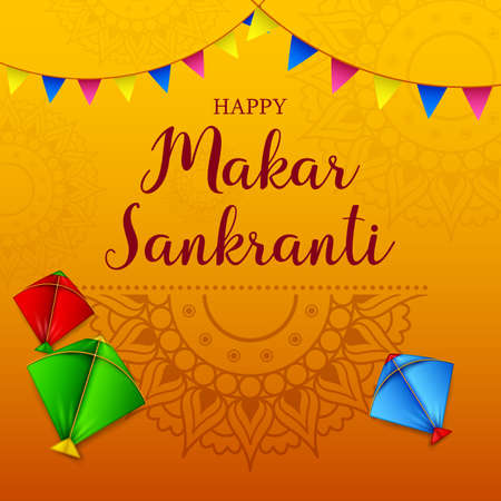Makar sankranti greeting card with colorful kite