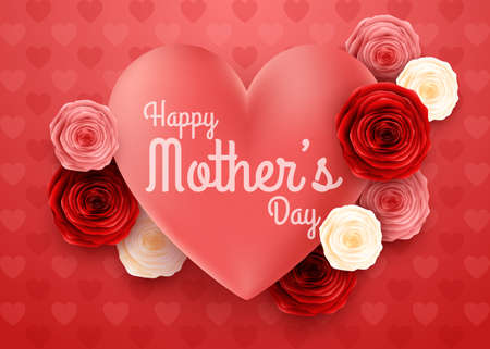 Happy Mothers Day with Hearts background