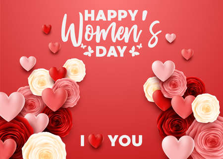 Happy International Womens Day with rose background