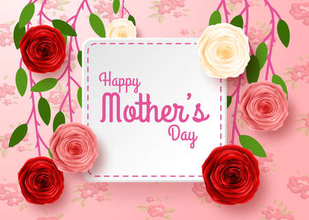 Happy Mothers Day with flowers background