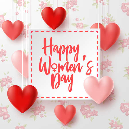 Happy International Womens Day with flowers background