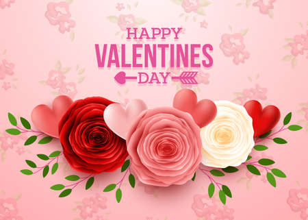Valentines day greeting card with flowers background 写真素材