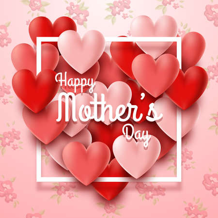 Happy Mothers Day with hearts on red background