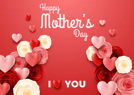 Happy Mothers Day with rose on red background
