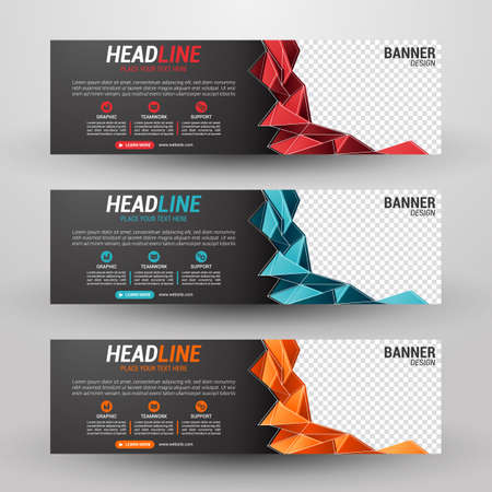 Three banners business with abstract background Illustration