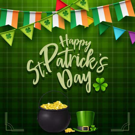 St. Patricks day with golden coins and hat Ilustração