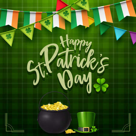 St. Patricks day with golden coins and hat Imagens