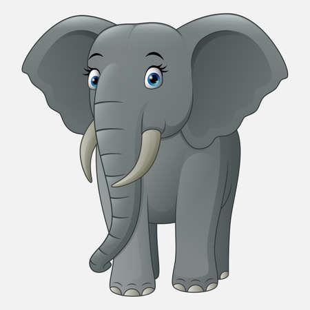 Cute baby elephant isolated on white background Illusztráció