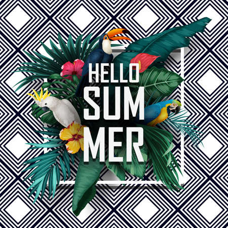 Hello Summer with Birds tropical plants on striped background