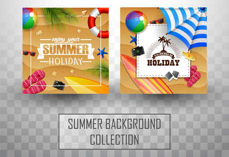 Beautiful top view summer beach background collections