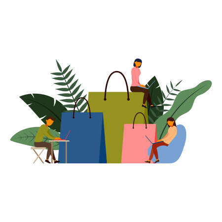 Online shopping, e-commerce concept with character, vector illustration