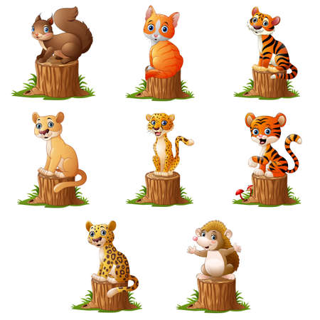 Cute animal on the tree log Ilustração