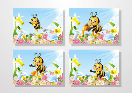 Cartoon bee on flower garden collections set