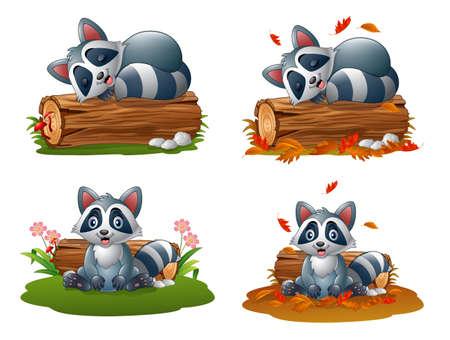 Cute cartoon raccoon collections set Imagens - 127499627