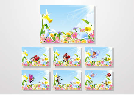 Cartoon insects on flower field collections set