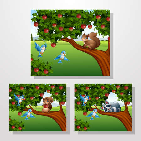 Cartoon squirrel and racoon on the apple tree collections Ilustrace