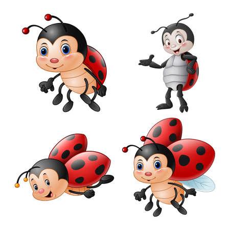Cartoon funny ladybug illustration collections Imagens - 127619182