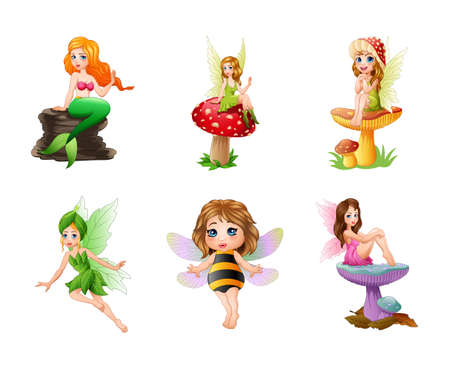 Cartoon cute fairy illustration collections Imagens - 127619184