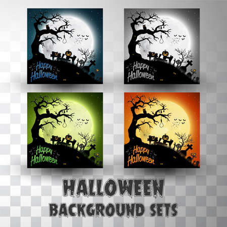 Halloween silhouette background sets with different colour scene Иллюстрация