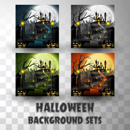 Halloween silhouette background sets with different colour scene Ilustracja