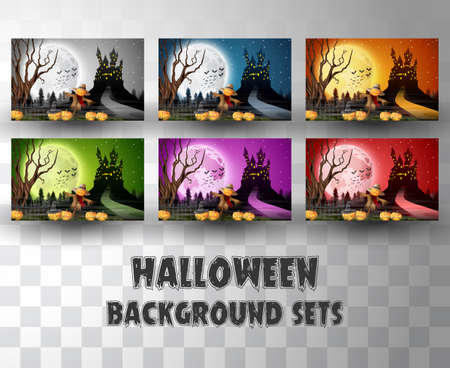Halloween cartoon silhouette background sets with different colour scene