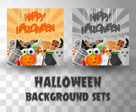 halloween flat banner template background sets with 2 different colour