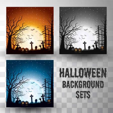 Halloween Silhouette Hintergrundsets mit unterschiedlicher Farbszene