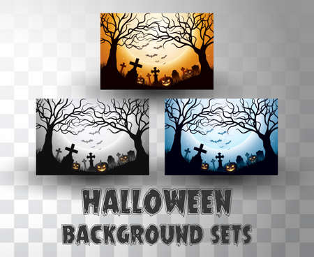 Halloween silhouette background sets with different colour scene  イラスト・ベクター素材