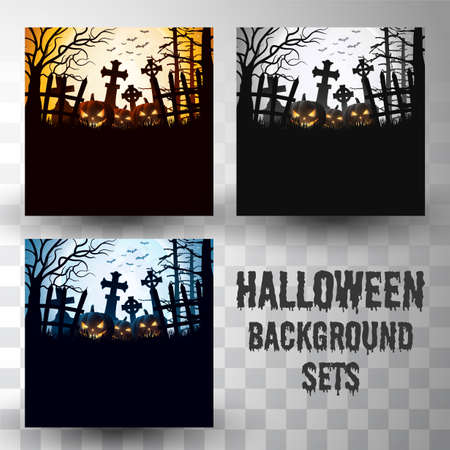 Halloween silhouette background sets with different colour scene Ilustração
