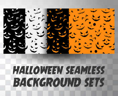 Set of seamless pattern pumpkin faces with different colour background