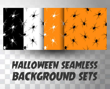 Set of seamless pattern spiders with different colour background