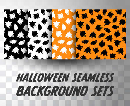 Set of seamless pattern ghosts with different colour background  イラスト・ベクター素材