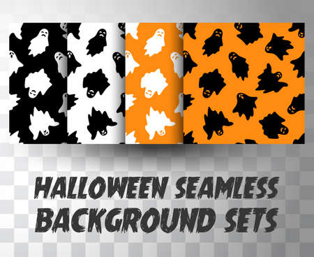 Set of seamless pattern ghosts with different colour background Ilustração