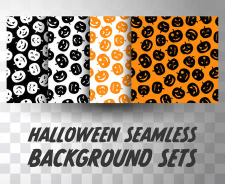 Set of seamless pattern pumpkins with different colour background