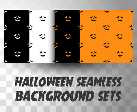 Set of seamless pattern pumpkin faces with different colour