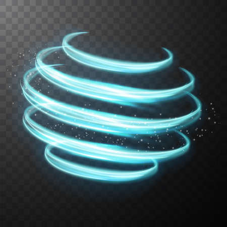 Blue glowing shiny spiral lines abstract light speed and shiny wavy trail