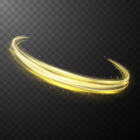 Yellow glowing shiny spiral lines abstract light speed and shiny wavy trail