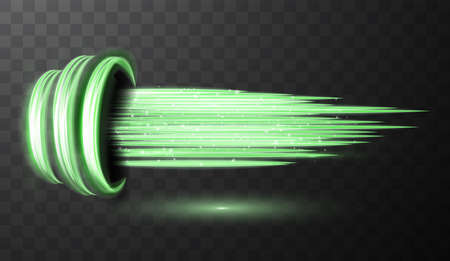 Green glowing shiny spiral lines abstract light speed and shiny wavy trail