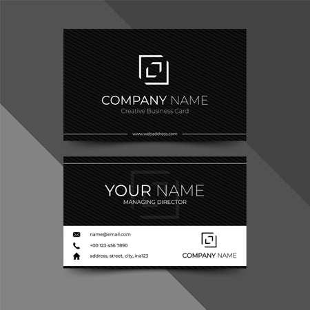 Modern black business card design template, design vector illustration