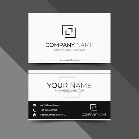 Modern black business card design template, design vector illustration Imagens - 130005334