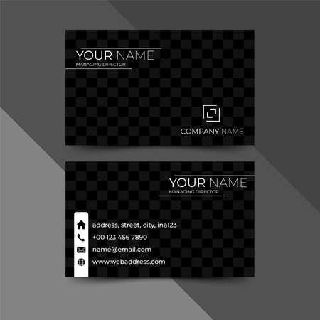 Modern black business card design template, design vector illustration Banque d'images - 130005381
