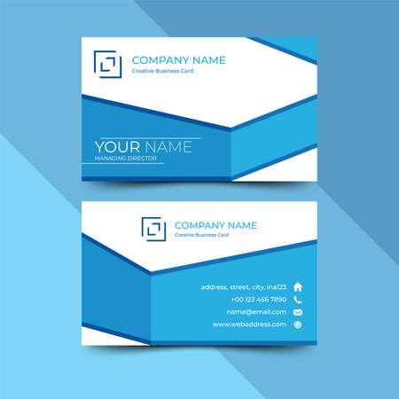 Modern blue business card design template, design vector illustration Imagens - 130005382