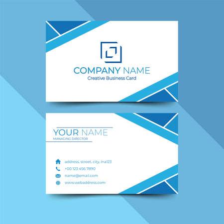 Modern blue business card design template, design vector illustration Imagens - 130005384