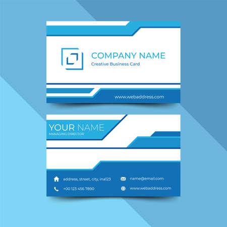 Modern blue business card design template, design vector illustration Banque d'images - 130005385