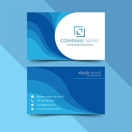 Modern blue business card design template, design vector illustration Imagens - 130005386