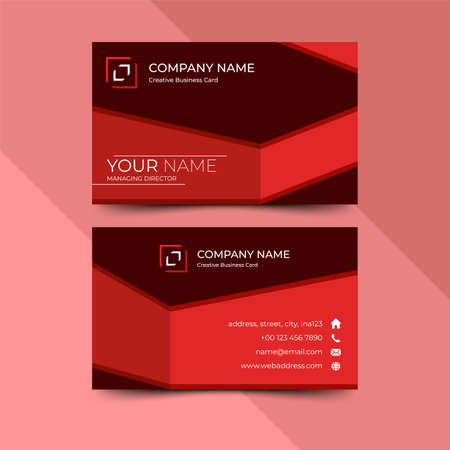Modern red business card design template, design vector illustration Banque d'images - 130005387